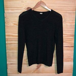 J Crew Dark Gray V Neck Merino Wool Sweater Top